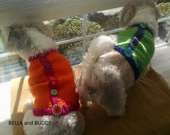 Dog Sweater, Hand Knit Pet Sweater, Button Up Back, Size XSMALL, Sweater Vest Green