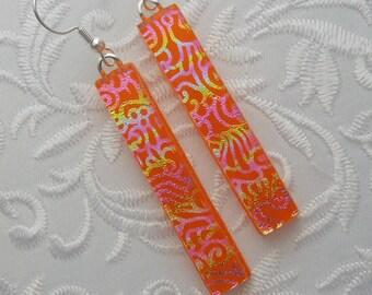 Dichroic Fused Glass Earrings - Long Earrings - Stick Earrings - Fashion Acessories - Dangle - Orange Earrings X4454