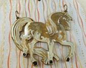 Horse Pendant Large - Hand Painted - Antique Brass Plated - Light Buckskin - Dry Gulch 64350
