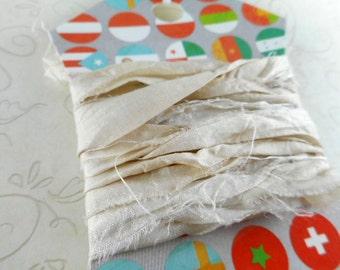 Silk Sari Ribbon Bundle 2 yds Alabaster