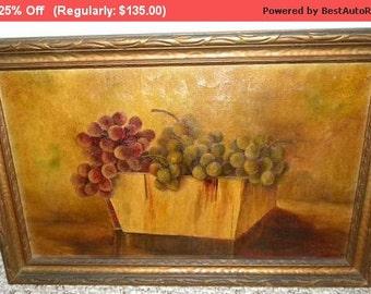Surprise SALE - Antique Oil Painting Still Life Canvas Grapes Signed #1