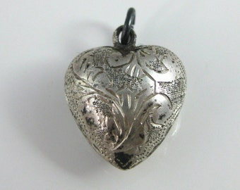 Charm, Sterling Silver, Ornate Heart Charm, Etched Sterling, Silver Puffy Heart Charm, Women, Jewelry, Beautiful Silver, Lovers Gift