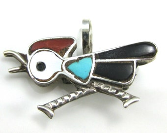 Pendant, Pin, Sterling Silver, Roadrunner, Zuni, Inlay Stone, Turquoise, Black Onyx, Red Coral, Mother Of Pearl, Collectible