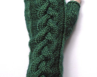 Baby Llama and Mulberry Silk Long Gloves, Fingerless Gloves, Arm Warmers, green gloves, cable pattern, women's gloves, luxury fibers