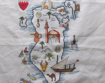 Counted Cross Stitch Embroidery Map Vintage Arab Moslem Country Bahrain Pillow Cover Top Cross Stitched Embroidered Hanging Travel Souvenir