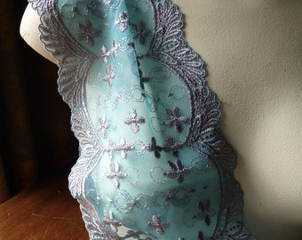 Embroidered Lace in Turquoise & Gray for Lingerie, Garments L 7009tgr