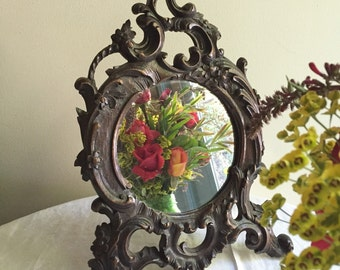 French Carved Wood Mirror/Round Picture Frame with  Easel Back Antique Circa 1800's