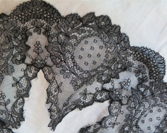 Antique Black Chantilly Lace Remnant /Collar Piece/Dress Yoke