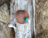 Turquoise and copper pine pod print pendant