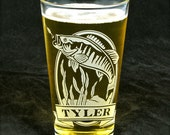 NEW! 1 Personalized Bass Beer Glass, Birthday Present for Fisherman, Gift for Man, Angler Fish Pint Glass