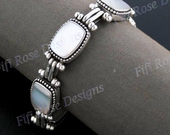 Gorgeous Mother Of Pearl 925 Sterling Silver Bracelet
