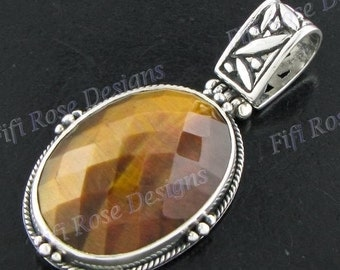 "1 1/2"" Tiger Eye 925 Sterling Silver Pendant"