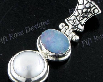 "1 5/16"" Genuine Opal Freshwater Pearl Sterling Silver Pendant"