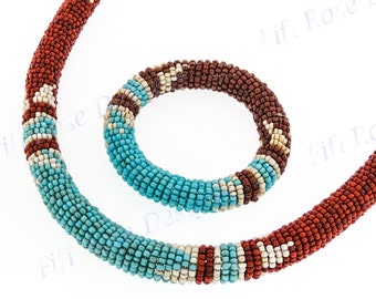 Ethnic Style Turquoise Brown Beige Handmade Necklace %26 Earring Set