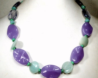 Lavender, Turquoise and Seafoam Green Bead Necklace, Glass, Quartz Howlite Beads, Love These Pastel Colors, 1980s OOAK Rachelle Starr