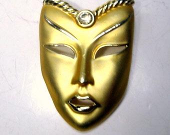 Masked Woman Pin, White Rhinestone Third Eye,  Gold Face Brooch, Mardi Gras, Matte and Shiny Goldtone Finish,  1980s