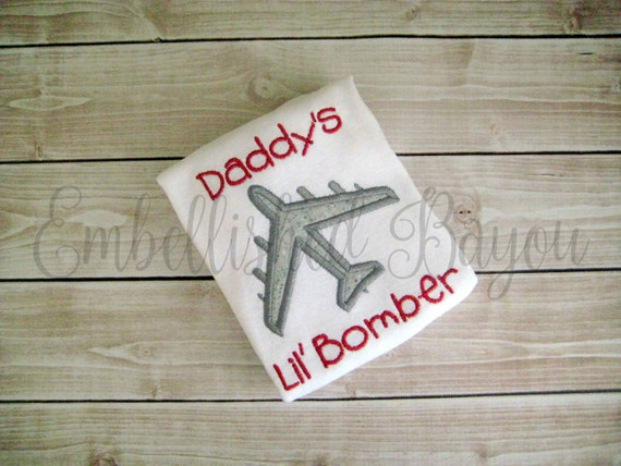 Mommy's or Daddy's Lil' Bomber Onesie or Tshirt with B-52 Airplane Applique