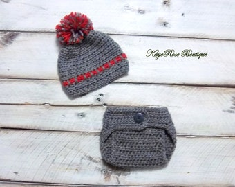 Newborn Baby Boy Gray and Red Striped Crochet Hat and Diaper Cover Set With Pom Pom