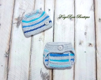 Newborn Baby Boy Hat and Diaper Cover Set Gray and Blue Stripes