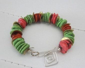 ON SALE Green and Orange Chunky Turquoise Bracelet