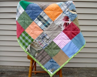 Custom Quilt - Clothing Quilt - Clothing Blanket - Grandparents Clothing Quilt - Memorial Quilt - Baby Shower Gift - Upcycled Clothing Quilt