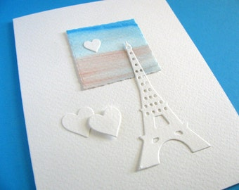 Creamy Ivory Eiffel Tower, Watercoloured Scene, With or Without Single Heart on Tiny Painting. A2 Size