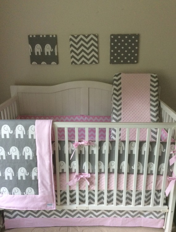 crib bedding set light pink and gray. Black Bedroom Furniture Sets. Home Design Ideas