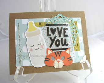 New Baby Handmade Card~little lion~unique card~baby card~aqua~orange~yellow~grey~blue~baby shower gift card