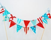 Red and Aqua Blue Cake Banner Bunting Topper, Dr Seuss Birthday Decoration - Mini Teal, Turquoise Fabric Flags, 1st Party Decor, Baby Shower