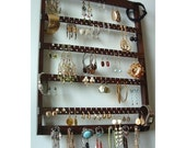 Jewelry Display Elegant Earring Organizer, Beautiful Dark Mahogany Stain, Necklace Holder, Earring Storage, Lovely Oak Hardwood