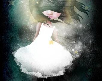 "Fine Art Print - ""Falling"" - 8.5x11 or 8x10 Premium Giclee Print of Original Artwork - Little Falling Star Girl - Jessica von Braun artwork"