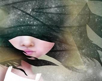 "5x7 Art Print ""Falling"" Girl Falling Star - Dark Space Fine art print by Jessica von Braun - night sky and stars - Nursery Art - Fantasy"