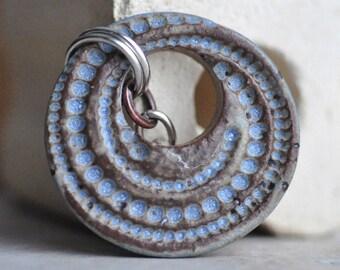 Desert Sky Blue Swirl of Dots Ceramic Pendant, handcut and handmade from stoneware clay