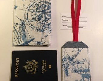 Passport Cover and Luggage Tag, Nautical Themed Travel  set, Passport Wallet and Luggage Tag, passport covert, vegan