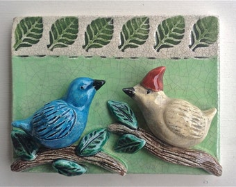 Ceramic Tile, Birds on Branches