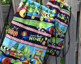 Backpack, Library Bag, Overnight Bag for Toddler Boy Drawstring Closure, Race Cars