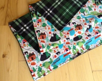 """Boy Blanket, Flannel and Fleece 35""""x 48"""" ready to ship, Plaid, Camping, Outdoors, Bears"""