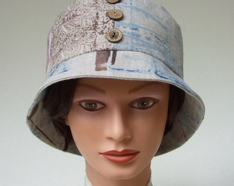 Sale: Linen Bucket Hat, Hand Painted in Indigo and Browns, One of a Kind, Button Accents, Fully Lined, Easy Style, Women Large or Loose Med.