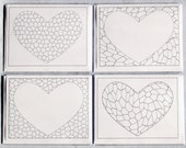 Coloring Cards, Blank Note Cards, Heart Coloring Card, Colouring Card