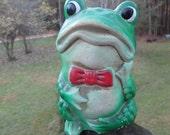 Frog Chalkware Bank--Tilso Japan-Vintage Green Mr Toad Bank--Coin Bank--Carnival Prize--Retro Bank--Sixties Kitsch--Kids Room Decor
