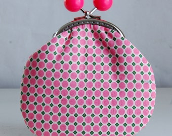 Pink Hexi Eyelet Large Coin Purse Change Pouch with Metal Kiss Clasp Lock Frame - READY TO SHIP