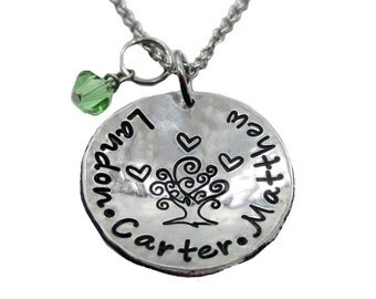 Family Tree with Hearts Hand Stamped Mom Necklace