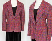 70's Wool Boyfriend Jacket / Pink & Purple Tweed / Lilli Ann / Large