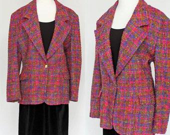 70's Wool Boyfriend Jacket / Pink & Purple Tweed / Lilli Ann / Large