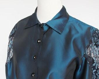 80's Cropped Satin & Lace Jacket / Sapphire Blue / Corset Keyhole Back / Medium to Large