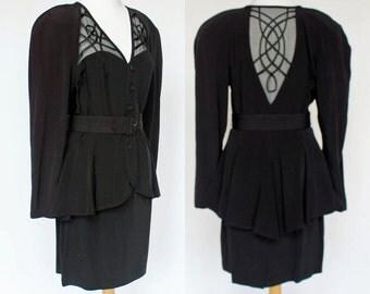 80's Wide Padded Shoulder Formal Suit / Peplum Jacket / Belted Suit / Medium