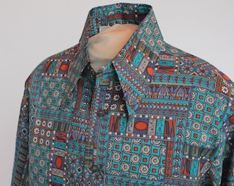 70's / 80's Print Disco Shirt / Mens Button Front Shirt / Long Sleeves / Polyester / Large