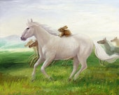 Isabella and the Horse ,Watercolor Paper Print, Giclee, Isabella