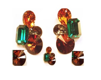 DRAMA QUEEN Wendy Gell FABULOUS earrings Clip on jewels