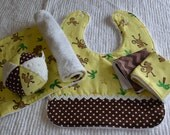 5 pc. Baby SET: MONKEY Chenille Baby/Toddler Bib, Jingle Ball, Burp Cloth, and Washcloths